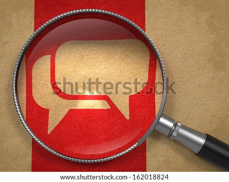 Magnifying Glass with Speech Bubble Icon on Old Paper with Red Vertical Line Background. Communication Concept. - stock photo