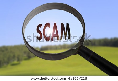 Magnifying glass with the word scam on blurred nature background - stock photo