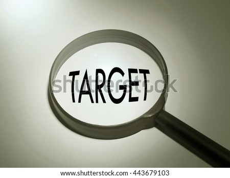 Magnifying glass with the word target. Searching target