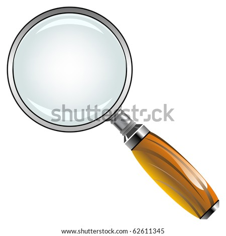 magnifying glass with wooden handle against white background, abstract art illustration; for vector format please visit my gallery - stock photo