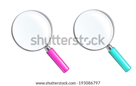 Magnifying Glasses On White Background.