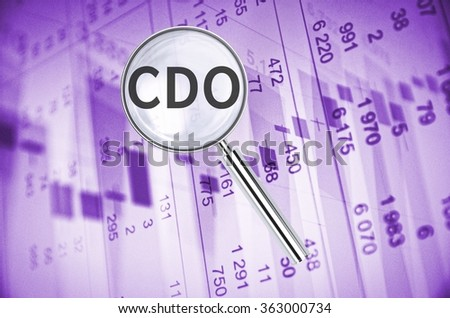 Magnifying lens over background with text CDO, with the financial data visible in the background.