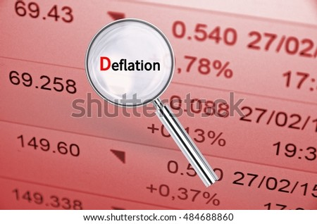 Magnifying lens over background with text Deflation, with the financial data visible in the background. 3D rendering.