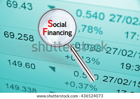 Magnifying lens over background with text Social Financing, with the financial data visible in the background. 3D rendering.