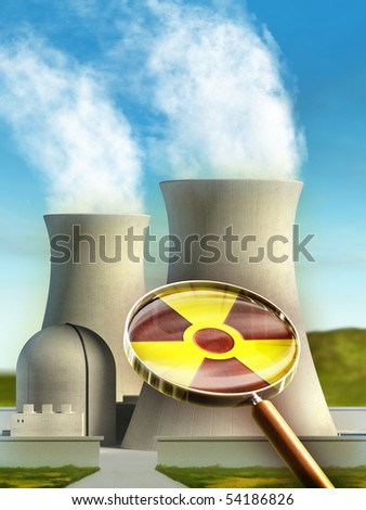 Magnifying lens used to examine a nuclear energy plant. Digital illustration. - stock photo
