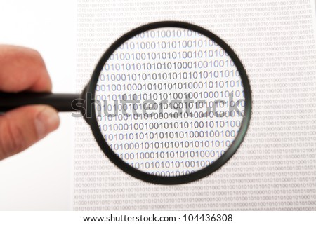 Magnifying objects using magnifier. Magnifier concept. - stock photo
