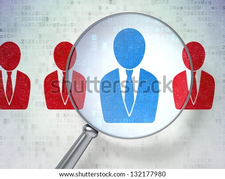 Magnifying optical glass with Business Man icons on digital background, 3d render - stock photo