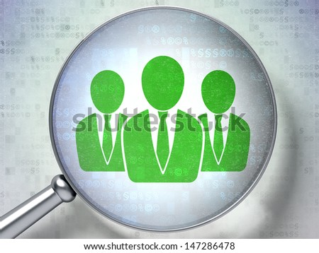 Magnifying optical glass with Business People icon on digital background, 3d render - stock photo