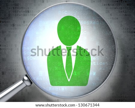 Magnifying optical glass with Businessman icon on digital background, 3d render - stock photo
