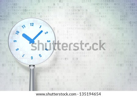 Magnifying optical glass with Clock icon on digital background, empty copyspace for card, text, advertising, 3d render - stock photo