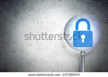 Magnifying optical glass with Closed Padlock icon on digital background, empty copyspace for card, text, advertising, 3d render