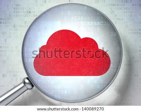 Magnifying optical glass with Cloud icon on digital background, 3d render - stock photo