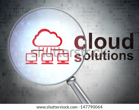 Magnifying optical glass with Cloud Network icon and Cloud Solutions word on digital background, 3d render - stock photo