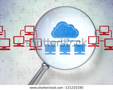 Magnifying optical glass with Cloud Technology icons on digital background, 3d render - stock photo
