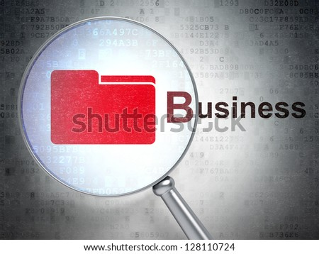 "Magnifying optical glass with Folder icon and ""Business"" word on digital background, 3d render"