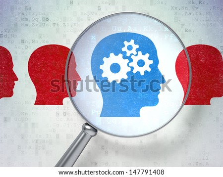 Magnifying optical glass with Head Whis Gears icons on digital background, 3d render - stock photo