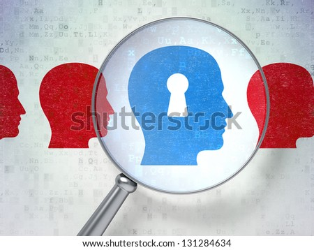 Magnifying optical glass with Head Whis Keyhole icons on digital background, 3d render - stock photo