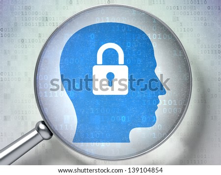 Magnifying optical glass with Head Whis Padlock icon on digital background, 3d render