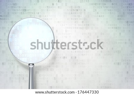 Magnifying optical glass with  icon on digital background, empty copyspace for card, text, advertising, 3d render - stock photo