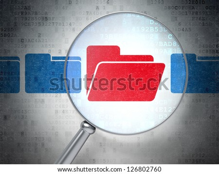 Magnifying optical glass with  icons on digital background, 3d render - stock photo