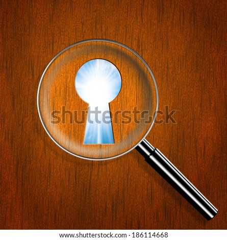 Magnifying optical glass with Keyhole and bright sun in the sky. Business concept:success and opportunity.  - stock photo