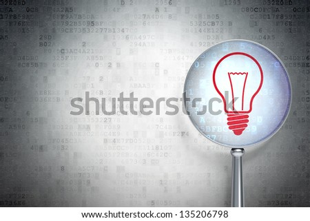 Magnifying optical glass with Light Bulb icon on digital background, empty copyspace for card, text, advertising, 3d render - stock photo