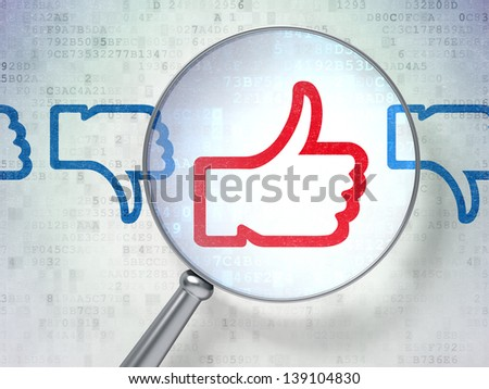 Magnifying optical glass with Like, Unlike icons on digital background, 3d render - stock photo