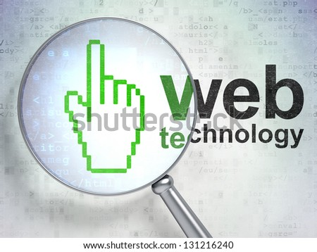 Magnifying optical glass with Mouse Cursor icon and Web Technology word on digital background, 3d render - stock photo