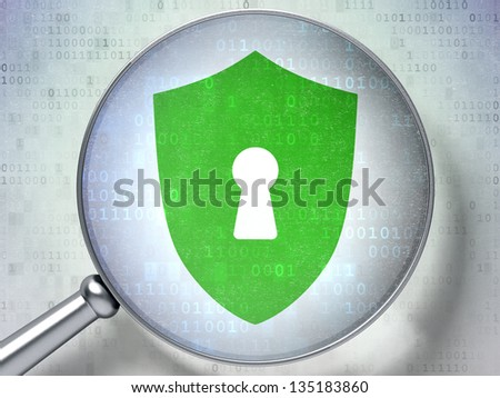 Magnifying optical glass with Shield With Keyhole icon on digital background, 3d render - stock photo
