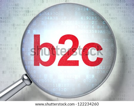 Magnifying optical glass with words b2c on digital background, 3d render
