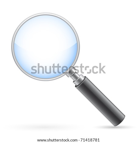 Magnigying glass on white with shadow. Vector illustration.