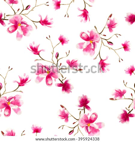 magnolia pattern, hand drawn watercolor - stock photo