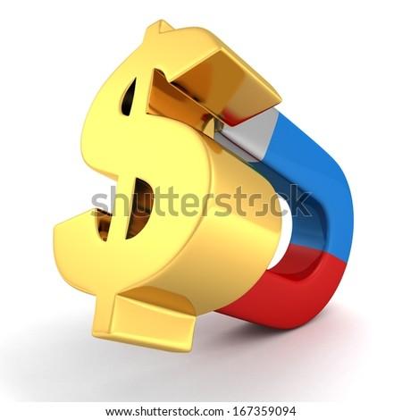 magnt attract money golden dollar symbol concept - stock photo