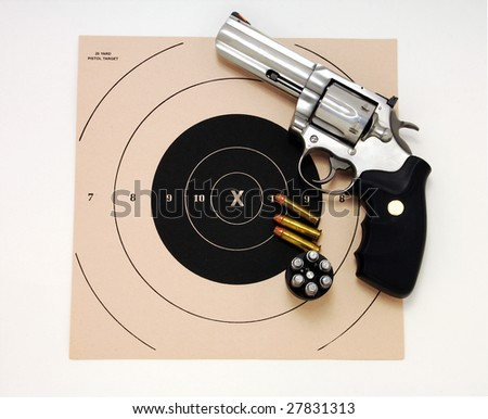 Magnum Revolver and target - stock photo