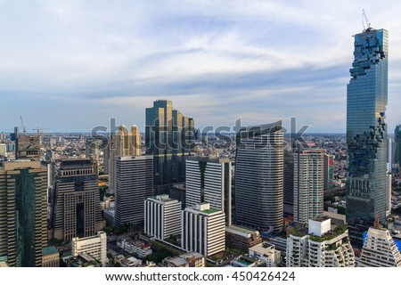 Mahanakorn tower city center business of Bangkok. sunset, Bangkok.Panoramic and perspective wide high rise building skyscraper commercial city of future. Business success industry tech. - stock photo
