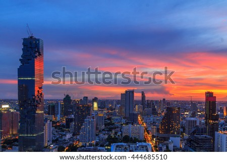 Mahanakorn tower city center business of Bangkok. sunset, Silom area, Bangkok.Panoramic and perspective wide high rise building skyscraper commercial city of future. Business success industry tech.