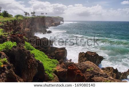 mahaulepu trail near  Poipu, Kauai , hawaii - stock photo
