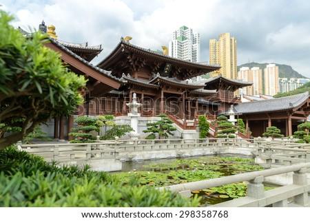 Mahavira Hall in Chi Lin Nunnery, Hong Kong. The Chinese words means 'Mahavira Hall' - stock photo
