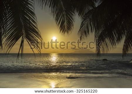 Mahe island, Seychelles at sunset - stock photo