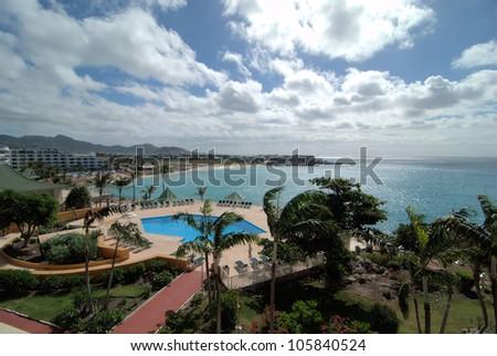 Maho Bay in St Maarten / Above the Bay - stock photo