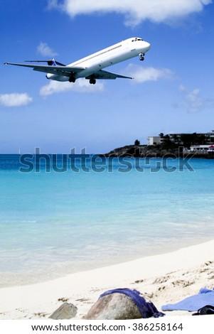 Maho beach near Princess Juliana International Airport, St.Martin - stock photo