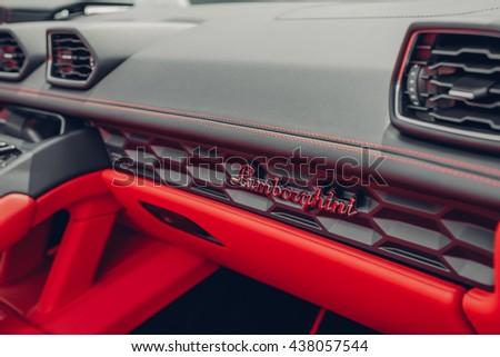Mahwah, NJ - June 11th 2016 - At a free public car show, the beautiful interior of the new Lamborghini Huracan Spyder. - stock photo