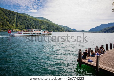 Mai 2016 - Lugano Switzerland: Boat tour on the beautiful lake of Lugano