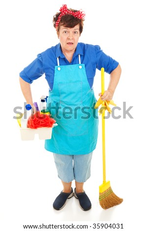 Maid with her cleaning equipment, wearing a very surprised expression.  Full body isolated on white. - stock photo