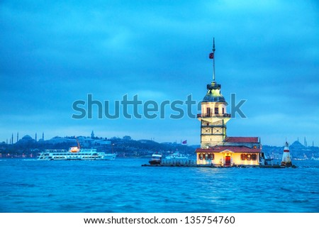 Maiden's island in Istanbul, Turkey at sunset time - stock photo