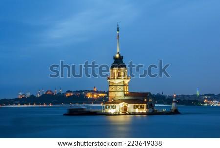 Maiden's Tower in istanbul (KIZ KULESI - USKUDAR)  - stock photo