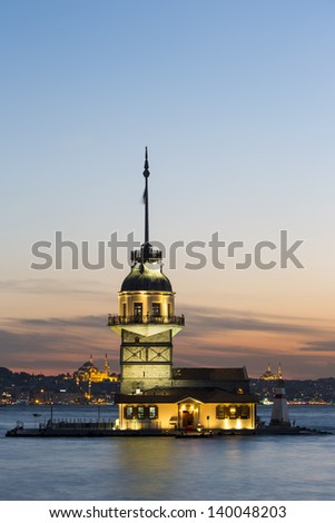 Maiden's Tower (Kiz Kulesi) also known as Leander's Tower since the medieval Byzantine period, is a tower lying on a small islet located at the southern entrance of the Bosphorus.