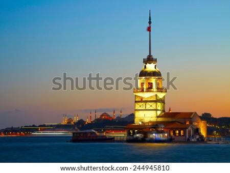 Maiden's Tower (Kiz Kulesi). Istanbul, Turkey - stock photo