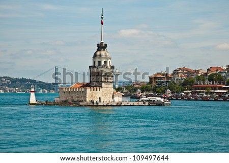 maiden tower at istanbul - stock photo