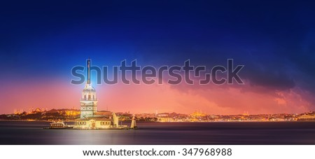 Maiden Tower or Kiz Kulesi Istanbul, Turkey - stock photo